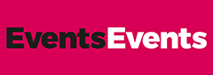 The black, white and pink logo of the Events Events 2020